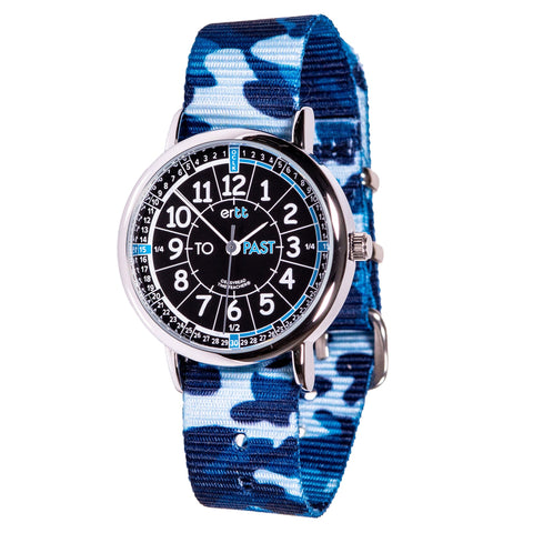 Easyread watch with black face and blue camo band