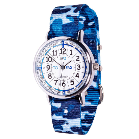 Easyread watch with white and blue face and blue camo band