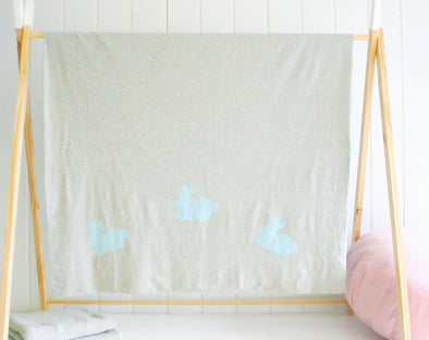 Alimrose Cot Blanket Blue Bunnies
