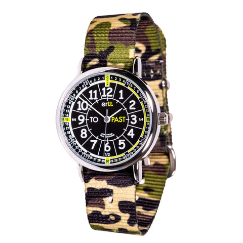 Easyread watch with black face and camo green band
