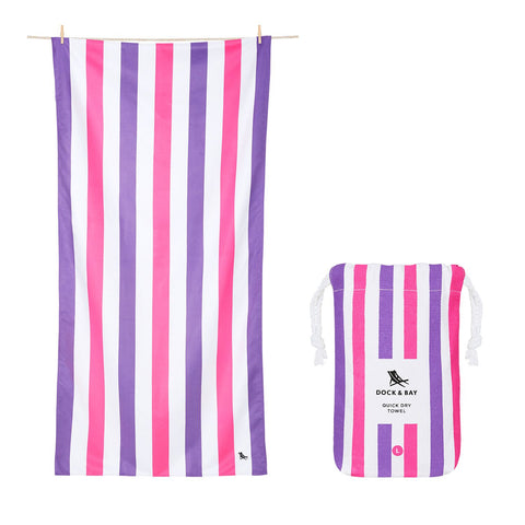 "Dock and Bay towel ""Sparkling Sunsets"" pink and purple stripe"