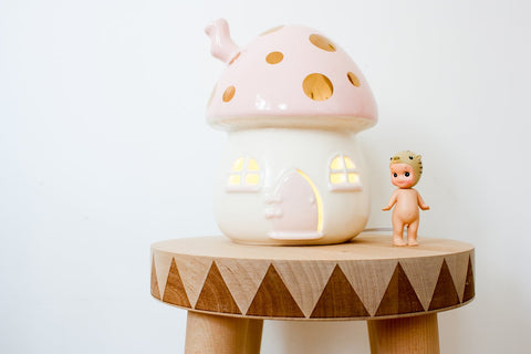 Little Belle Mushroom Lamp Pink & Gold