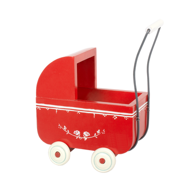 Maileg Wooden Pram for My Baby Red