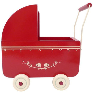 Maileg Wooden Red Pram for Micro bunnies approx 15cm