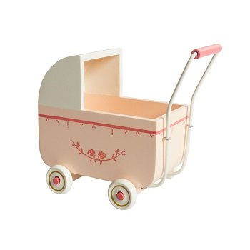 Maileg Wooden Pram for My Baby Light Pink