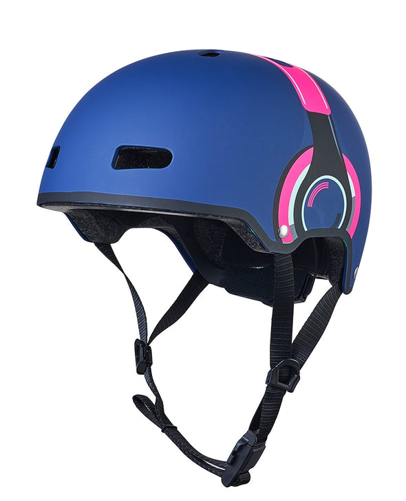 Micro Scooter Helmet Navy headphones with LED