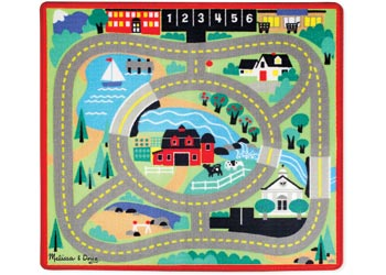 Melissa and Doug Town Road playmat with wooden cars