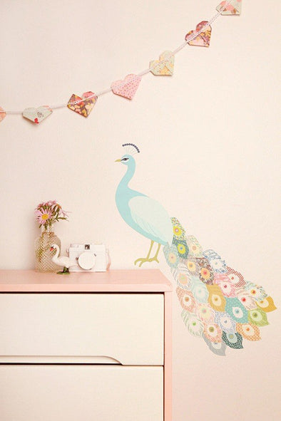 Love Mae Fabric Wall Stickers Peacock Plumage
