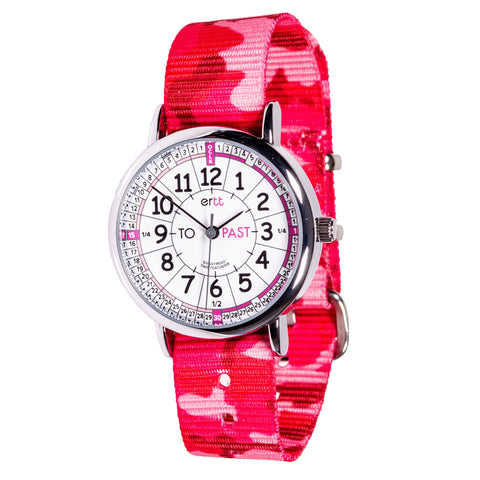 Easyread watch with white and pink face and pink camo strap