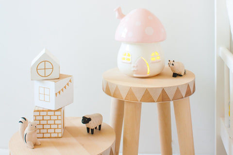 Little Belle Mushroom Lamp Pink & White