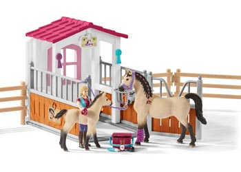 Horse Stall with Horses & Groom