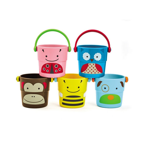 Skip Hop Zoo Stack and Pour Buckets Bath Toys
