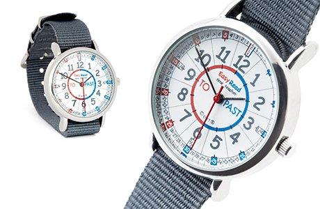 Easyread time teacher watch with red/blue face and grey strap