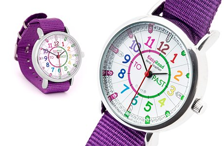 Easyread watch with rainbow face and purple strap