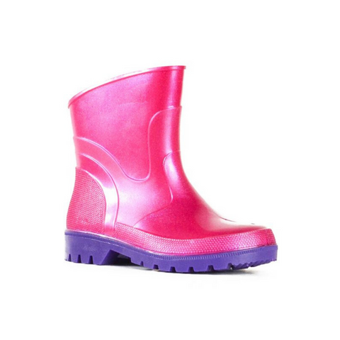 Bubblegummer Low Cut Gumboot in Pink Glitter Purple by Bata