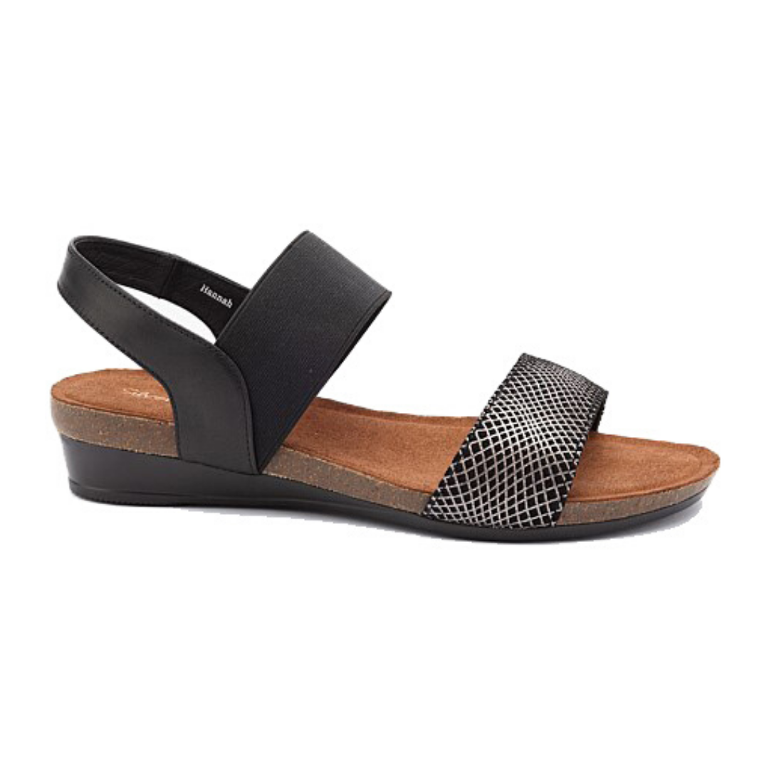 Hannah Sandals in Black Print from Silver Linings