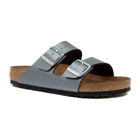 Arizona Metallic Anthracite Narrow Sandals Birkenstocks.