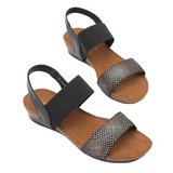 Sandals in Black Print from Silver Linings