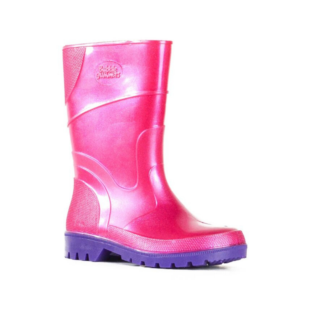 Bubblegummer High Cut Gumboot in Pink Glitter Purple by Bata