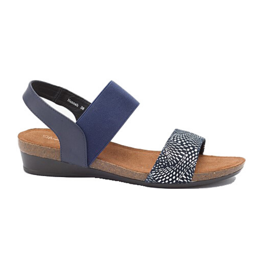 Hannah Sandals in Navy Print from Silver Linings