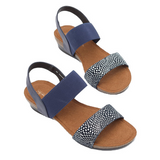 Sandals in Navy Print from Silver Linings