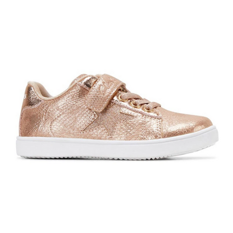 Rani Junior Sneakers in Rose Gold and Snake Print from Clarks.