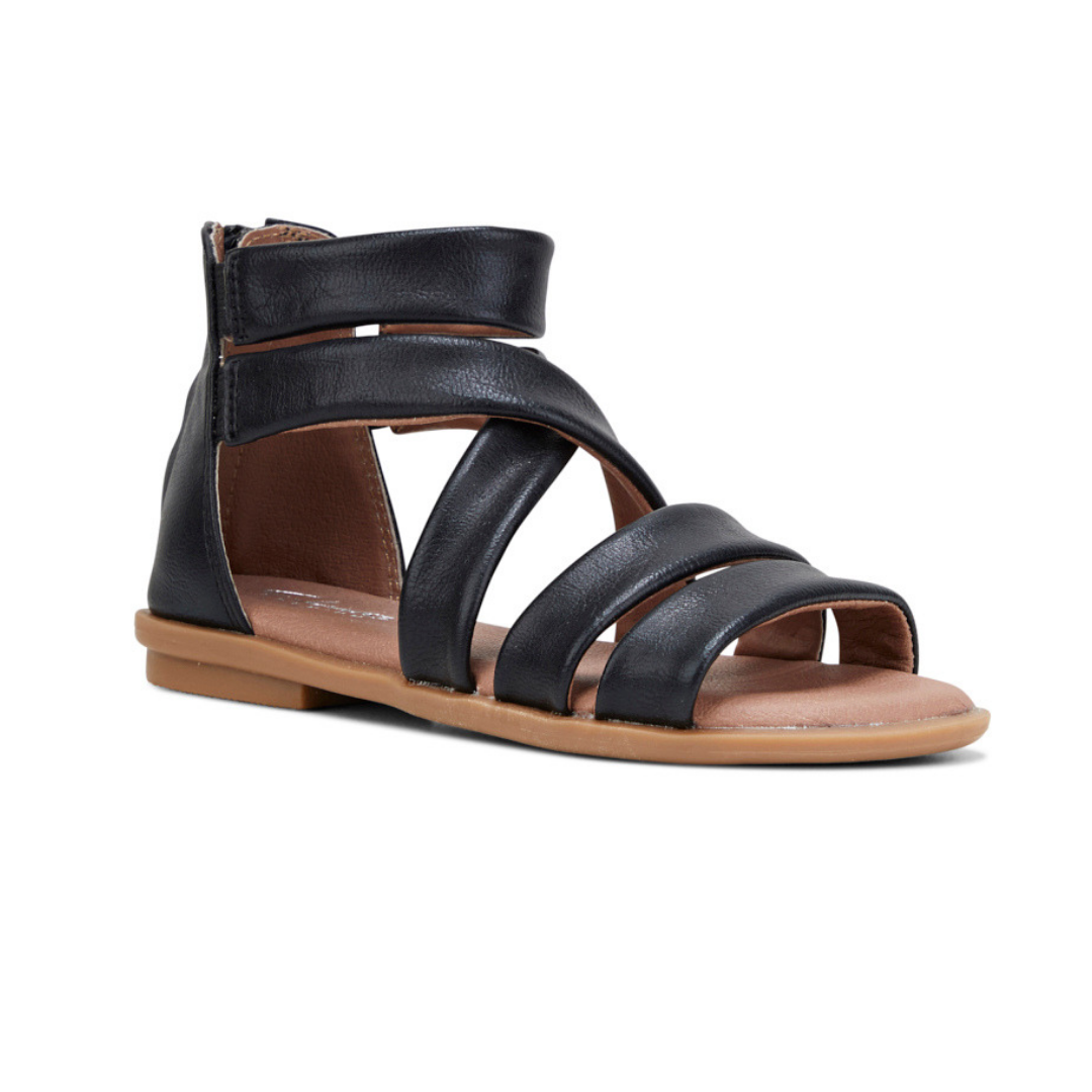 Holly II kids sandals in black distress by Clarks.