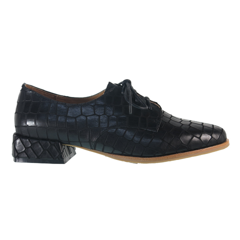Denise Lace-Up Shoes in Black Croc from Bresley