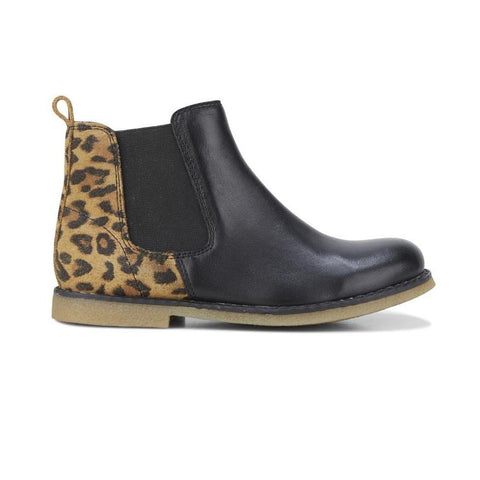 Chelsea Black Leopard Boots by Clarks