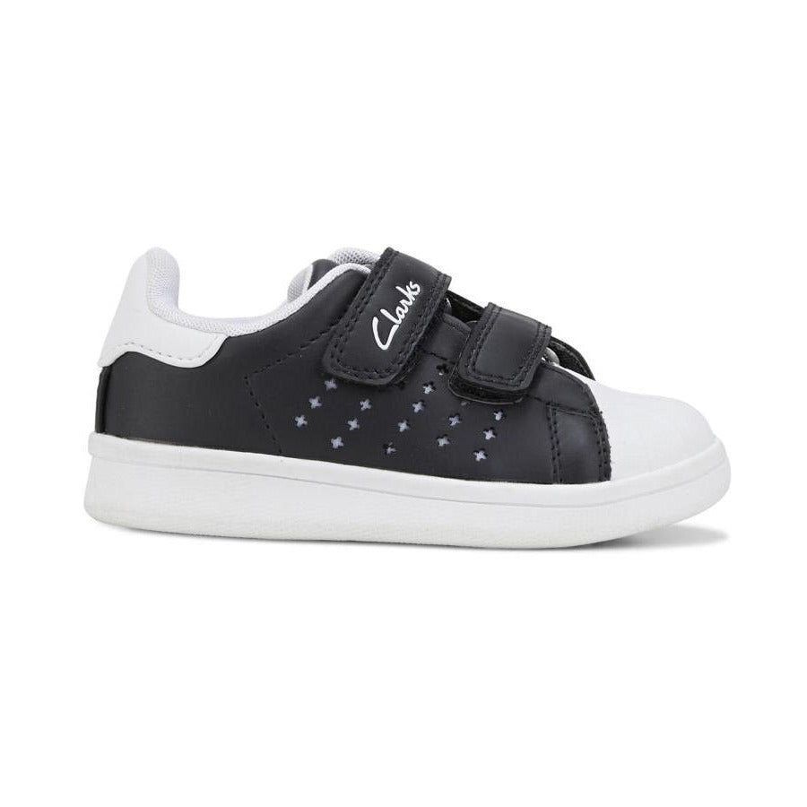 Clarks Decker Sneaker Junior in Black and White
