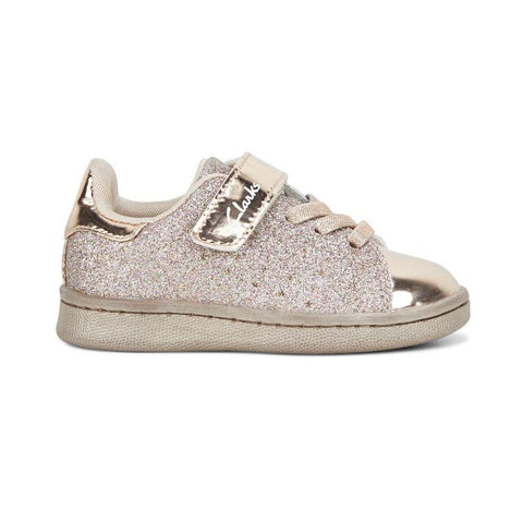 Clarks Disco Sneaker Junior E in Rose Gold