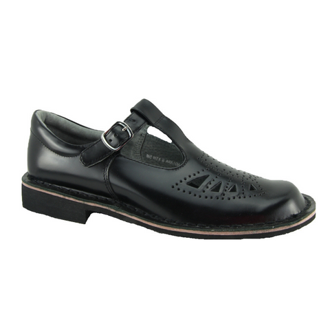 Harrison Indiana Senior - Black High Shine T-Bar Shoes