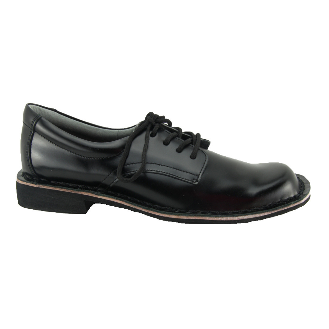 Harrisons Indy Senior - Black High Shine T-Bar School Shoes