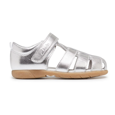 Scoop E Girls Sandals in SIlver from Clarks.