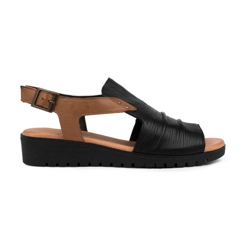 Madis Sandals in Black/Tan from Django and Juliette