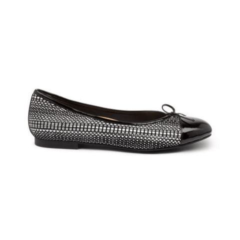 Chelsea Flats in Black White Patent from Ziera