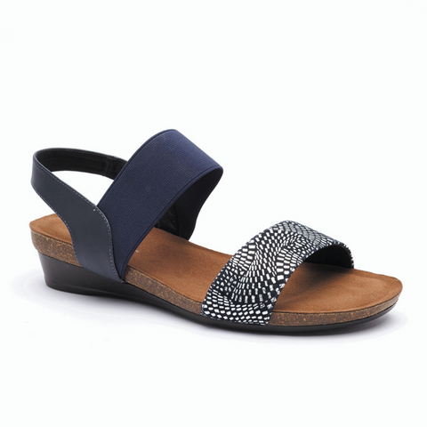 Hannah Sandals in Navy Silver from Silver Linings
