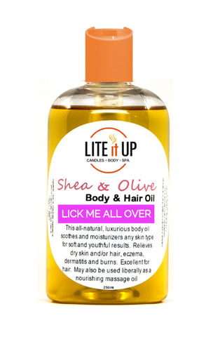 Lite It Up LICK ME ALL OVER Shea + Olive Oil for Body and Hair **NEW**