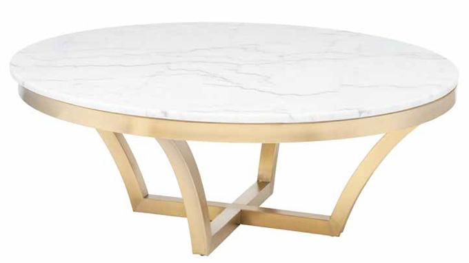 Marble top Coffee Table with Brushed Gold Frame