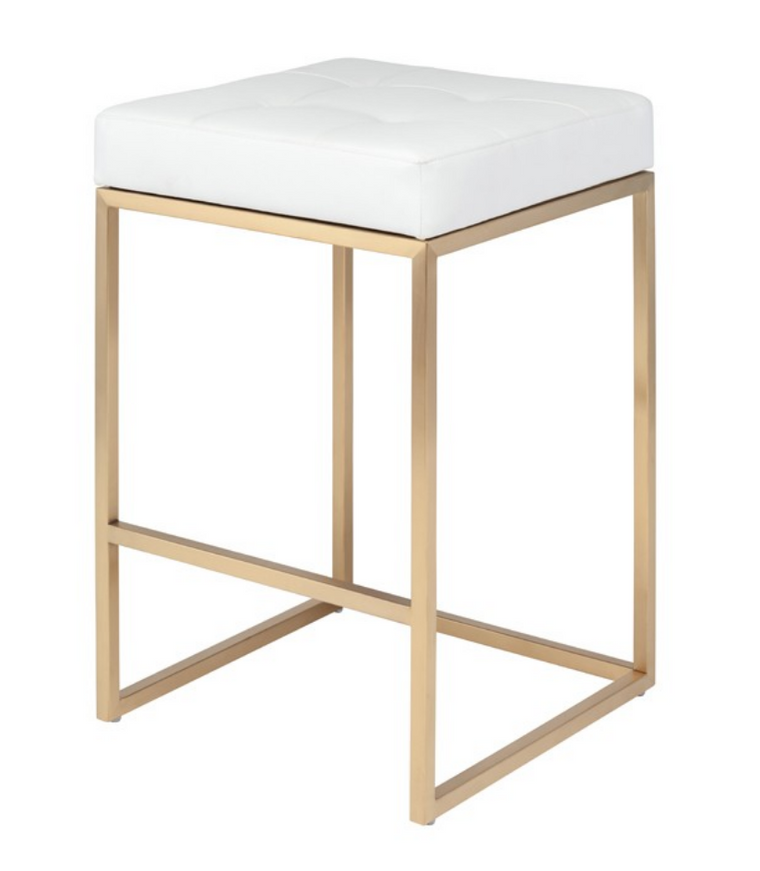 Cube White Counter Stool