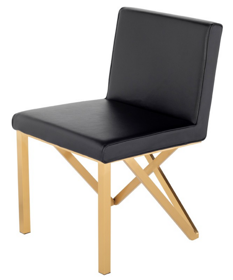 Euro Black & Gold Dining Chair