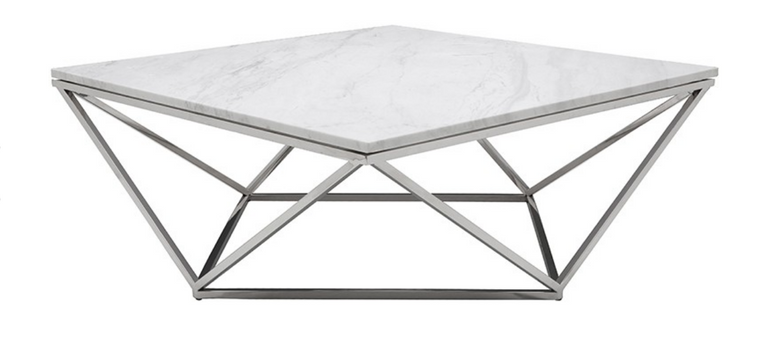 Hera Coffee Table White & Steel