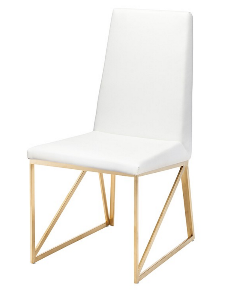 Patrice White & Gold Dining Chair