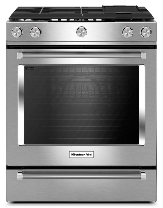 "Kitchenaid 30"" 5 Burner dual fuel convection front control"