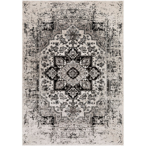 Black, Ivory, Medium Gray and White Area Rug