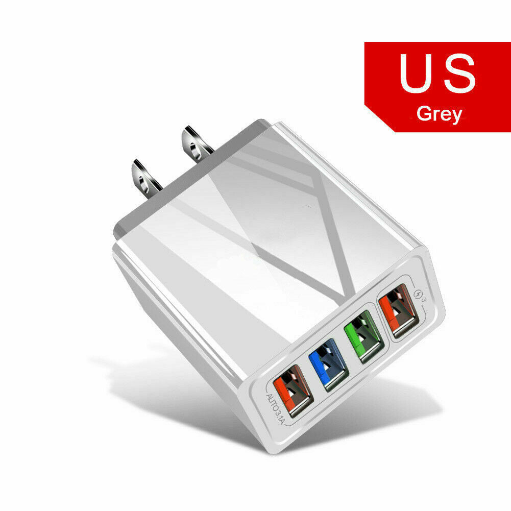 4 Multi-Port Fast Quick Charge 3.0 Wall Charger USB Hub Power Adapter