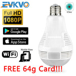 WIFI IP Light Bulb HD 1080P SPY Panoramic 360 Degree Camera (Free 64 GB Kingston SD Card included)