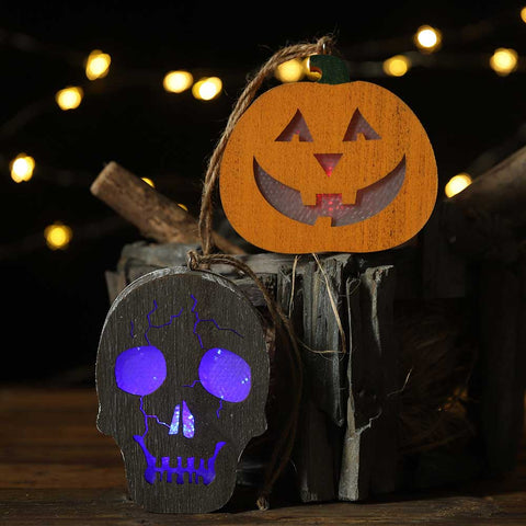 Halloween Wooden Pumpkin and Skull Lanterns