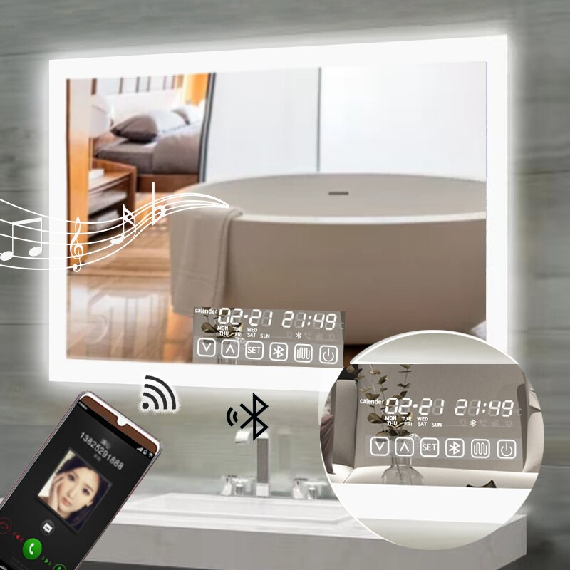 LED Smart Bathroom Anti-Fog Bluetooth Mirror