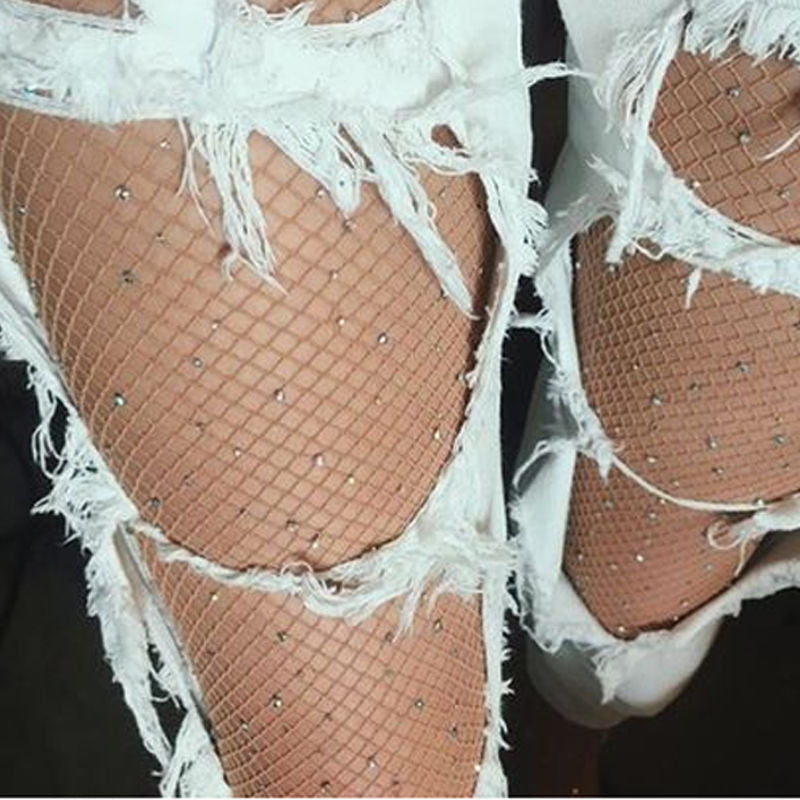 Women High Waist Diamond  Sparkle Rhinestone Fishnet Stockings